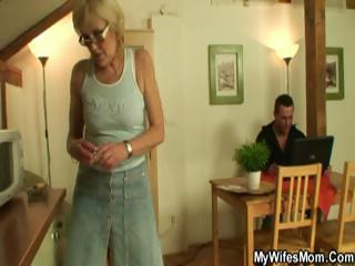 excited blond granny sucks and bonks her