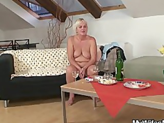drunk fuckfest with lustful granny and her son in