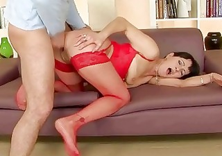 granny in red nylons receives drilled hard