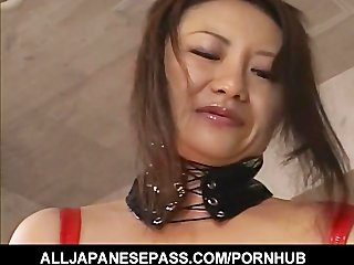 sexually excited japanese milf in red latex with