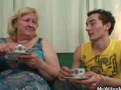 giant granny is gangbanged by her son on law