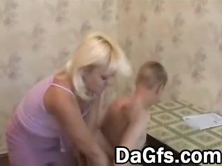 juvenile boy against blond mature