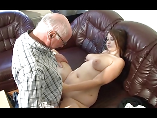 german grandpa makes young girl excited