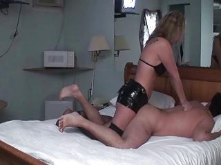 wife headmistress pounds husbands butt with dong