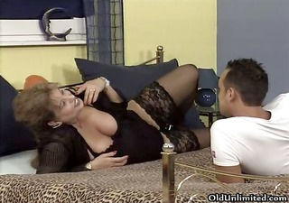 busty old woman receives horny getting her part4