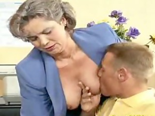 eager old mommy acquires cock drilled and office