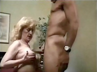 granny hot screwed in bed, with red high heels