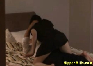 perverted japanese milf goes down on spouse