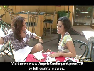 ravishing and sexy lesbo pair undressing and