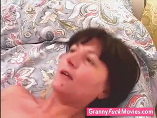 guy banging this granny until she is cums