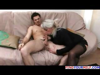 mature blond russian elena blows his cock and