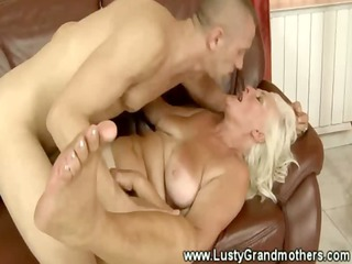 blond granny likes to acquire obscene in living