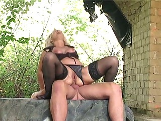blond granny group-fucked hard outdoors by