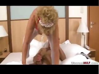 hairy grandma wakes up young lad
